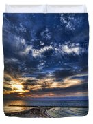 Tel Aviv Sunset At Hilton Beach Duvet Cover by Ron Shoshani