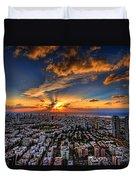 Tel Aviv Sunset Time Duvet Cover by Ron Shoshani