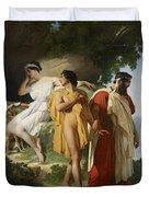 Telemachus And Eucharis Duvet Cover by Raymond Quinsac Monvoisin