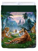 Temple Lake Tigers Duvet Cover by Jan Patrik Krasny
