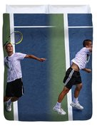 Tennis Serve by Mikhail Youzhny Duvet Cover by Nishanth Gopinathan