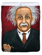The 2 Einstein's Duvet Cover by Leah Saulnier The Painting Maniac