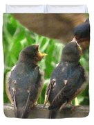 The Adult Barn Swallow Arrives With Lunch For One Duvet Cover by J McCombie
