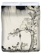 The Animals You Know Are Not As They Are Now Duvet Cover by Arthur Rackham