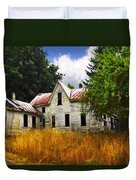 The Apple Tree On The Hill Duvet Cover by Debra and Dave Vanderlaan