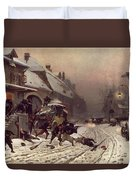 The Attack At Dawn Duvet Cover by Alphonse Marie De Neuville