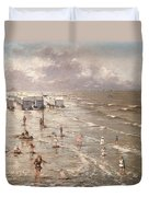 The Beach At Ostend Duvet Cover by Adolphe Jacobs