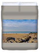 The Beach At Porthtowan Cornwall Duvet Cover by Brian Roscorla