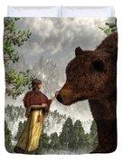 The Bear Woman Duvet Cover by Daniel Eskridge