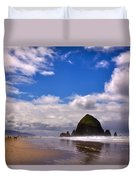 The Beautiful Cannon Beach Oregon Duvet Cover by David Patterson