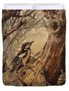 The Bird And Tree Marquetry Wood Work Duvet Cover by Persian Art