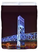 The Blue Bridge - Main Street Bridge Jacksonville Duvet Cover by Christine Till