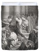 The Buyers And Sellers Driven Out Of The Temple Duvet Cover by Gustave Dore