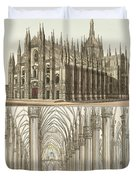 The Cathedral Of Milan Duvet Cover by Splendid Art Prints