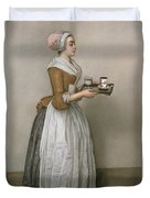 The Chocolate Girl Duvet Cover by Jean-Etienne Liotard