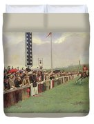 The Course At Longchamps Duvet Cover by Jean Beraud