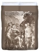 The Danaids Condemned To Fill Bored Vessels With Water Duvet Cover by Bernard Picart