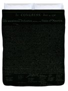 The Declaration Of Independence In Negative Olive Duvet Cover by Rob Hans