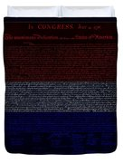 The Declaration Of Independence In Negative R W B 1 Duvet Cover by Rob Hans