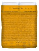 The Declaration Of Independence In Orange Duvet Cover by Rob Hans
