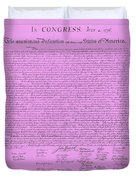 The Declaration Of Independence In Pink Duvet Cover by Rob Hans