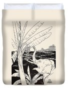 The Elephant's Child Going To Pull Bananas Off A Banana-tree Duvet Cover by Joseph Rudyard Kipling