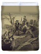 The Fight Between George And Tom Loker Duvet Cover by Adolphe Jean-Baptiste Bayot