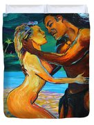The First Kiss Duvet Cover by Karon Melillo DeVega