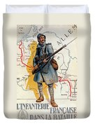 The French Infantry In The Battle Duvet Cover by H Delaspre