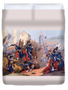 The French Legion Storming A Carlist Duvet Cover by English School