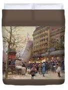 The Great Boulevards Duvet Cover by Eugene Galien-Laloue