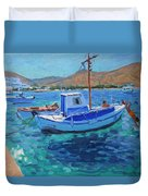 The Harbor  Tinos Duvet Cover by Andrew Macara
