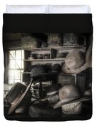 The Hatters Shop - 19th Century Hatter Duvet Cover by Gary Heller