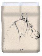 The Horse Sketch Duvet Cover by Angel  Tarantella