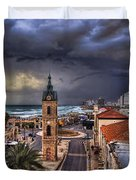 the Jaffa old clock tower Duvet Cover by Ronsho