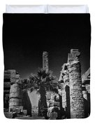 The Karnak Temple BW Duvet Cover by Erik Brede