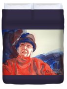 The Lady In Red Duvet Cover by Kathy Braud