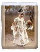 The Little Flower Girl  Duvet Cover by Albert Raudnitz