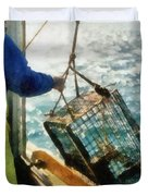 The Lobsterman Duvet Cover by Michelle Calkins