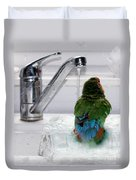 The Lovebird's Shower Duvet Cover by Terri Waters