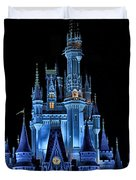 The Magic Kingdom Castle In Very Deep Blue Walt Disney World Fl Duvet Cover by Thomas Woolworth