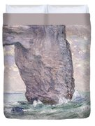 The Manneporte Seen From Below Duvet Cover by Claude Monet