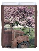 The Old Truck And The Crab Apple Duvet Cover by Edward Fielding