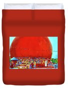 The Orange Julep Montreal Summer City Scene Duvet Cover by Carole Spandau