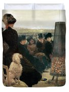 The Races At Auteuil Duvet Cover by Giuseppe Nittis