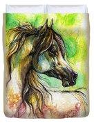 The Rainbow Colored Arabian Horse Duvet Cover by Angel  Tarantella