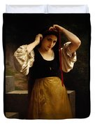 The Red Ribbon Duvet Cover by William Adolphe Bouguereau