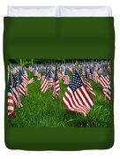 The Red White And Blue  American Flags Duvet Cover by Donna Doherty