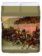 The Riderless Racers At Rome Duvet Cover by Theodore Gericault