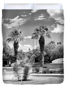 The Sandpiper Pool Bw Palm Desert Duvet Cover by William Dey